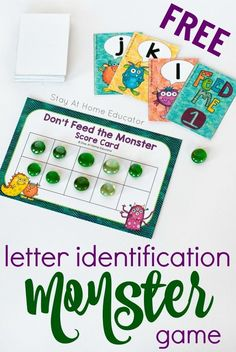 Don't Feed the Monster Alphabet Game - Teach your preschoolers letters of the alphabet with this fun card game. Children also learn basic subtraction skills because this is also an easy and fun ten frame activity. Perfect for preschool Writing Activities For Preschoolers, Ten Frame Activities, Preschool Writing, Preschool Letters, Alphabet Activities, Preschool Activities, Monster Activities, Handwriting Activities, Kindergarten Literacy