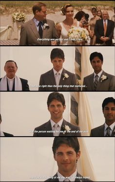 You know how the bride makes her entrance and everybody turns to look at her? That's when I look at the groom. Cause his face says it all you know? The pure love there. - 27 Dresses