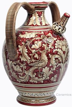Ceramic Majolica Pitcher with  Red Doves