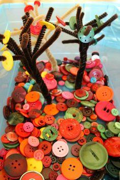 Fall Button Tree Quiet Bin for Preschoolers