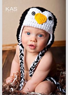 Penguin Hat Ear Flaps and Braids Girl or Boy on Etsy, $16.99