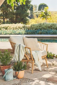 The Lucara lounger mixes mid-century shapes with a breezy, beachy sensibility. #OutdoorFurniture #OutdoorSofa #PatioFurniture #OutdoorStyle Outdoor Sofa, Outdoor Furniture, Mid Century, Lounge, Chair, Airport Lounge, Drawing Rooms, Lounges, Stool