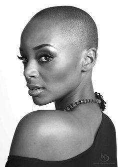 warren-alexander: Donalee Curtis bw N, W Big Chop, Bold And The Beautiful, Beautiful Black Women, Short Hair Cuts, Short Hair Styles, Bald Head Women, Bald Look, Bald Girl, Bald Heads