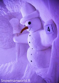 Snowman decoration in our Igloo hotel in Santa Claus Village in Rovaniemi in Lapland - Snowmanworld Purple Christmas, Christmas And New Year, Santas Lapland, Santa Claus Village, Lapland Finland, Ice Hotel, Snow Fun, Snowman Decorations, See The Northern Lights