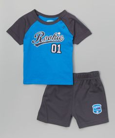 Blue 'Rookie' Raglan Tee & Mesh Shorts - Infant #zulily #zulilyfinds