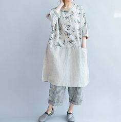Linen loose large size round collar pullover dress summer
