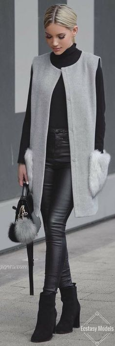 Fall Outfits Vest, knee length best, I want my style, winter wear, Grey Vibes // Fashion Look by Shanda Rogers Mode Outfits, Casual Outfits, Fashion Outfits, Womens Fashion, Cheap Fashion, Fashion News, Fashion Check, Fall Winter Outfits, Autumn Winter Fashion