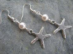 Starfish Pearl Earrings Personalized Beach Earrings by Abundantearthworks  Choose your pearl color  #starfish #starfishearrings #pearl #pearlearrings #beachwedding #bridesmaidearrings #nautical #dangleearrings #beachearrings #abundantearthworks