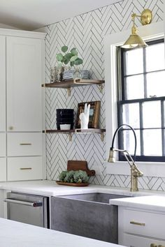 Get inspired by Modern Farmhouse Kitchen Design photo by The Hunted Interior. Wayfair lets you find the designer products in the photo and get ideas from thousands of other Modern Farmhouse Kitchen Design photos. White Subway Tile Backsplash, Herringbone Backsplash, Subway Tiles, Beadboard Backsplash, Herringbone Pattern, Travertine Backsplash, Mosaic Backsplash, Black And White Backsplash, Backsplash Arabesque
