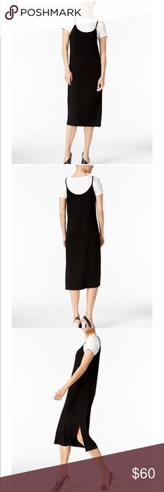 CK T-shirt dress Update your casual collection with this charming and stylish daytime dress. Designed to look like a white t-shirt layered under a midi black dress. It is a pullover style that sits below the knee. Rayon/Spandex blend and is not lined. Machine washable. Has never been sold in stores. Came directly from distributor. Calvin Klein Dresses