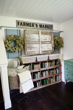 Bookcase/storage idea. See the complete makeover of this farmhouse style cozy living room - A great pin for farmhouse inspiration!