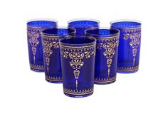 S/6 Yasmina Moroccan Glasses, Blue on OneKingsLane.com  With bright colors and an intricate design, these Moroccan tea glasses are too pretty to be used solely for special occasions. Add exotic flair to your everyday life and sip with them as often as possible.  Divine Designs is rightly famous for bringing luscious colors...
