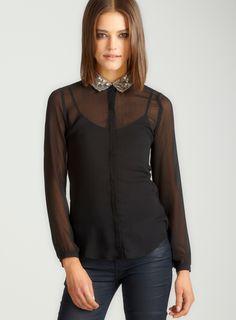 L/s chif blouse w/ sequin cllr