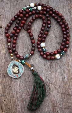 Jasper Mala Necklace decorated with a Buddha by look4treasures, $63.95