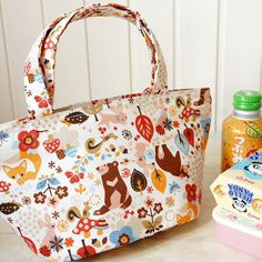 Japanese Insulated Lunch Bag - Japanese Kokka Cotton Fabric Free Shipping