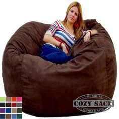 Bean Bag Chairs by Cozy Sack Factory Direct 5' Cozy Foam Filled Microfiber Cover #CozySac