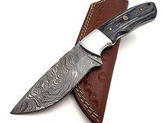 Damascus Hunting Knife Crocodile Dundee, Hunting Knives, Damascus Steel, Knifes, Blade, Leather, Knives, Knife Making, Llamas
