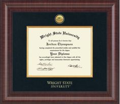 Beautiful graduation gift idea. My son and his wife are graduating from college this month and now there is this beautiful diploma frame for them to show off all their hard work. You earned it frame it!