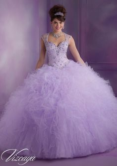 89010 Quinceanera Gowns 89010 Ruffled Tulle Quinceanera Gown with Beading