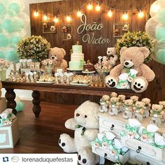 This would be just adorable for a teddy bear themed birthday party or baby shower. Décoration Baby Shower, Teddy Bear Baby Shower, Shower Bebe, Shower Party, Baby Shower Games, Baby Shower Parties, Baby Boy Shower, Decoracion Baby Shower Niña, Party Decoration