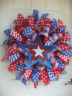 Patriotic 4th of July  USA Deco Mesh Wreath by TowerDoorDecor, $60.00