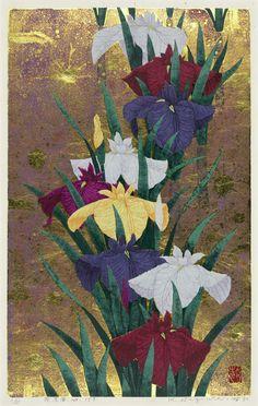Title Iris No 159 Artist Kazutoshi Sugiura Year 2005 Process Silkscreen… Japanese Art Modern, Japanese Prints, Botanical Illustration, Illustration Art, Illustrations, Different Kinds Of Art, Art Japonais, Japanese Flowers, Japanese Painting
