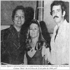 """Carlos Aguiar, Salvador e Henriette. Coluna """"Baby"""" do A Crítica de 21 de julho de 1980."""