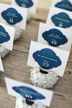 Pink and navy placecards