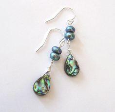 Abalone Shell Teardrop Earrings Freshwater by SendingLoveGallery