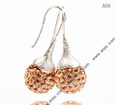 14x35mm Light Orange Crystal Polymer Clay Disco Ball Alloy Dangle Earrings