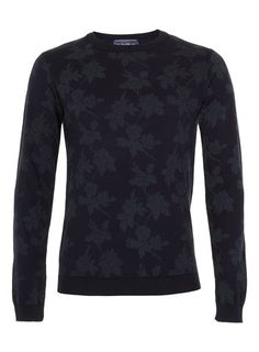 Navy Floral Print Jumper by TOPMAN