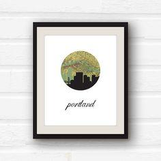 Portland Oregon Art  Portland Map  Portland by PaperFinchDesign, $12.00