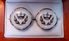 RARE Vintage Swank Royal Copenhagen Porcelain Trumpet Cufflinks by CremedelaCuff on Etsy