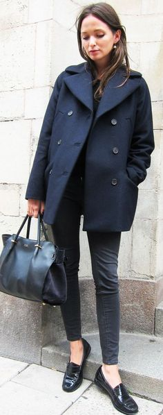 Columbine Smille Navy Peacoat Fall Street Style Inspo