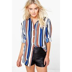 Boohoo Isobel Striped Oversized Shirt ($30) ❤ liked on Polyvore featuring tops, blue, jersey crop top, high neck crop top, striped shirt, striped crop top and long-sleeve crop tops