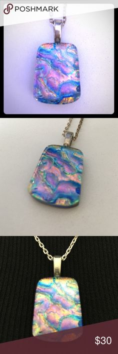Spotted while shopping on Poshmark: Dichroic fused glass pendant! #poshmark #fashion #shopping #style #Gaia Glass Jewelry #Jewelry