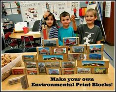 Environmental print Block center: This whole post is filled with FABULOUS, developmentally appropriate learning CENTERS! Block Center Preschool, Kindergarten Centers, Literacy Centers, Kindergarten Reading, Play Based Learning, Learning Centers, Reggio Emilia, Creative Curriculum, Daycare Curriculum