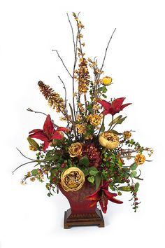Flower Arrangements 5 below funnel cake - Funnel Cake Christmas Flower Arrangements, Artificial Floral Arrangements, Silk Floral Arrangements, Christmas Flowers, Beautiful Flower Arrangements, Fall Flowers, Floral Centerpieces, Artificial Flowers, Christmas Trees