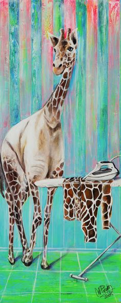 Tareas diarias | Daily chores | Acrílico sobre lienzo | Acrylic on canvas by Pili Tejedo 40 x 100 cm