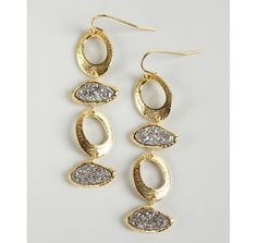Marcia Moran gold and silver agate druzy stone and loop link earrings