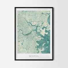 Boston art posters and prints of your favorite city. Unique map design of Boston. Perfect for your house and office or as a gift for friend.