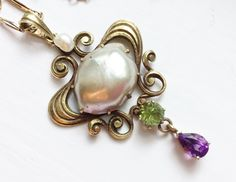Art Nuevo white green and purple. I love how simple pretty and elegant this piece is. Not to mention these colors ☺