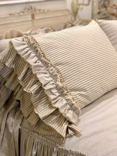 A Pair of Canvas Pillows Covers Stripe Light Brown Beige with Long Ruffles Bedding Decor Handmade French Country Farmhouse Wedding Birthday - Kissen Ideen - Cool Decorative Pillows Modern French Country, French Country Farmhouse, French Country Bedrooms, French Country Living Room, French Country Decorating, French Country Bedding, French Bedding, French Country Fabric, Bedroom Country