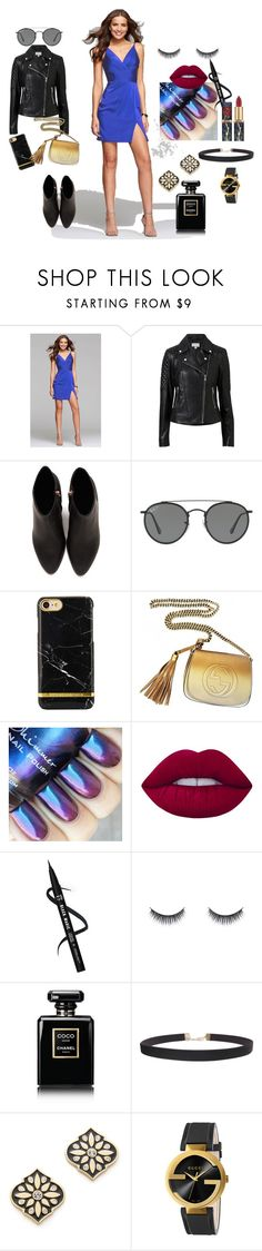 """Dress it down, Street style"" by newyorkdressonline ❤ liked on Polyvore featuring Faviana, Witchery, Alexander Wang, Ray-Ban, Gucci, Lime Crime, Chanel, Humble Chic and Kate Spade"