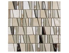 "Classic shell beige pieces of diagonal cut glass tile and stonetile create a neutral and elegant idea for bathroom tile, bathroom tile designs and as kitchen backsplash.  Size: 12"" x 12"" Category: Glass Color: Beige"