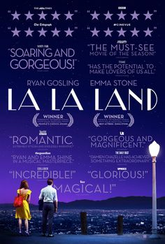 "La La Land 2016 Musical Movie Emma Stone Ryan Gosling / Won 6 Academy Awards for Best Director, Best Actress (Stone), Best Cinematography, Best Original Score, Best Original Song (""City of Stars"") and Best Production Design."