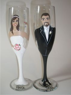 Custom Bride and Groom glass.  The couple is caricatured in Wedding dress and Tux.  A link is provided for more info.  All Artwork is protected by Copyright/Trademark.