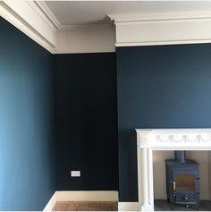 Hague Blue sitting is the new smoking study Navy Living Rooms, Blue Rooms, Living Room Paint, Blue Walls, Living Room Decor, Navy Bedrooms, Dining Room, Modern Georgian, Hague Blue