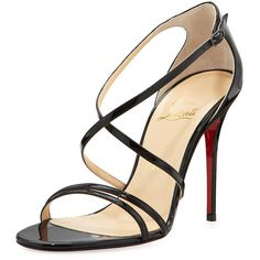 Christian Louboutin Gwynitta Patent Crisscross Red-Sole Sandal ($745) ❤ liked on Polyvore featuring shoes, sandals, heels, christian louboutin, sapatos, red sole shoes, criss-cross sandals, patent sandals, patent leather shoes and cushioned shoes
