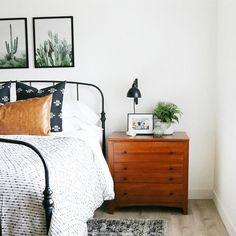 masculine bedroom Minimal modern boho bedroom with black metal bed frame and cacti wall art. Modern Master Bedroom, Modern Bedroom Design, Modern Room, Home Bedroom, Bedroom Decor, Bedroom Ideas, Bedding Decor, Bedroom Signs, Boho Bedding